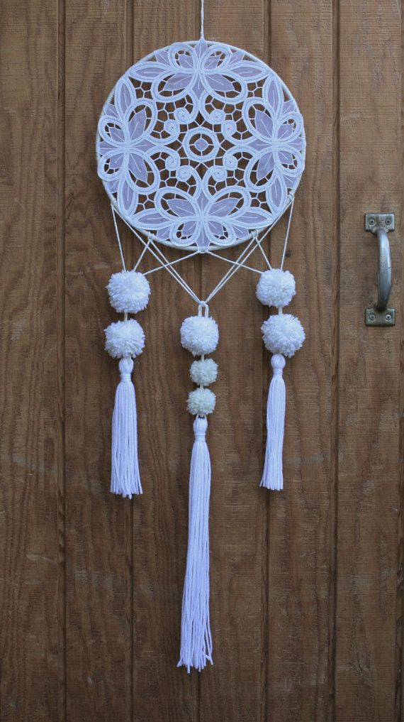 """Items similar to Handmade crocheted lace bohemian 12"""" dreamcatcher in white & neutral tones on Etsy"""
