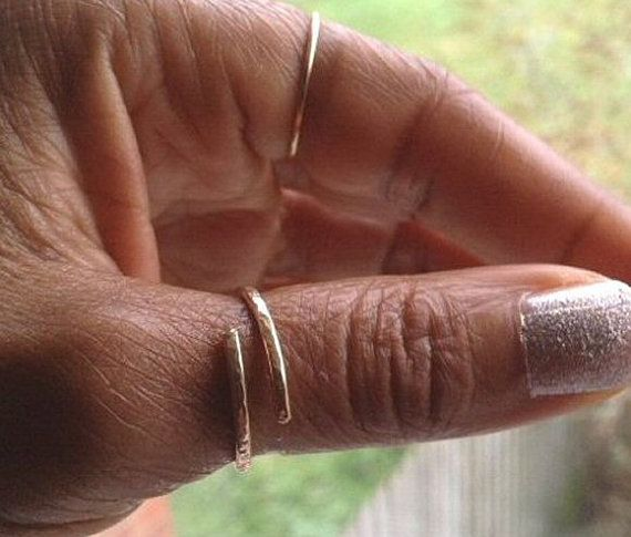 Gold Thumb Ring Adjustable Hammered 14K Gold by PABJewellery