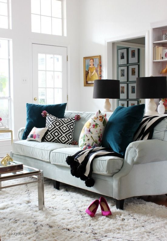 Hi Sugarplum | Colorful Living Room created affordably with treasures from Home Goods. (sponsored pin)