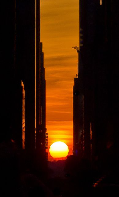 Manhattanhenge in New York, one of the two days of the year when the setting sun lines up exactly with the city's east-west streets