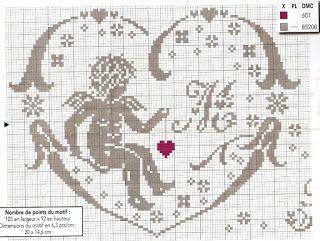 Hobby lavori femminili - ricamo - uncinetto - maglia: centro angelo filet punto croce
