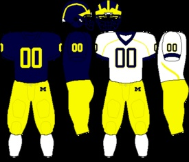 """Current uniform  Colors  MaizeandBlue    Fight song""""The Victors""""  Michigan Marching Band  RivalsOhio State Buckeyes  Michigan State Spartans  Notre Dame Fighting Irish  Minnesota Golden Gophers"""