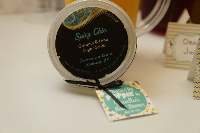 Coconut and Lime Homemade Sugar Scrubs Thank you gifts - Jouella's Ready to POP Baby Shower - Mint, yellow and Grey - Sheep - Chevron - By: Spicy Chic Handmade Creations