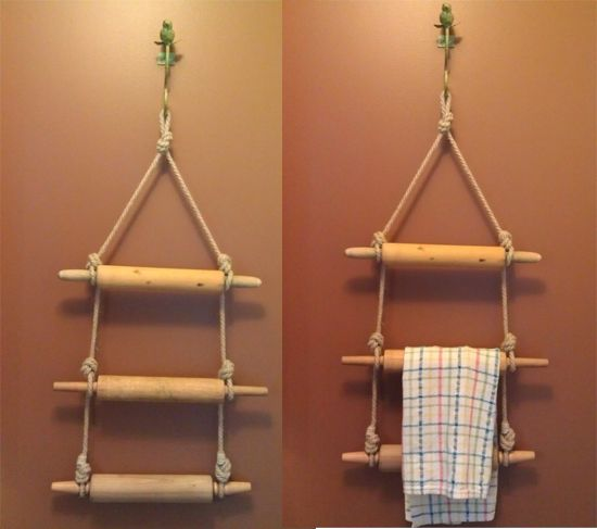 Repurposed Rolling pin kitchen towel rack by Puffin Design;