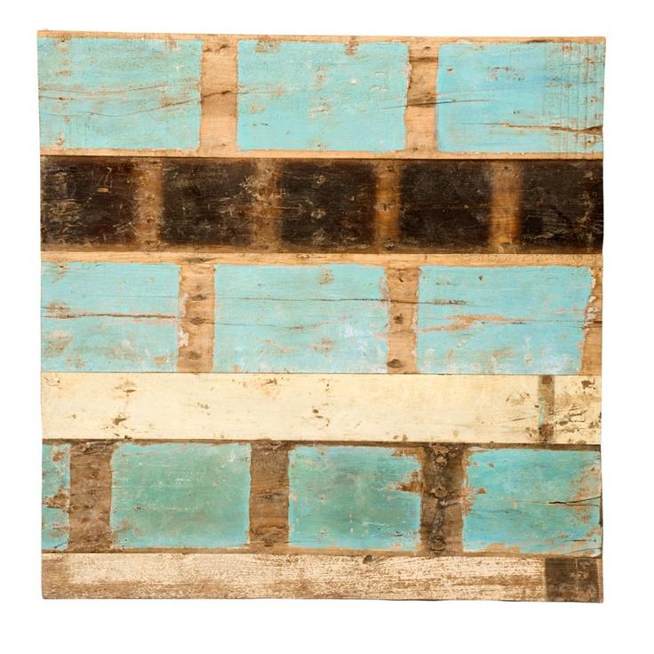 Panel en madera reciclada de teca decoraci n low cost mueble de madera - Alfombras sant cugat ...