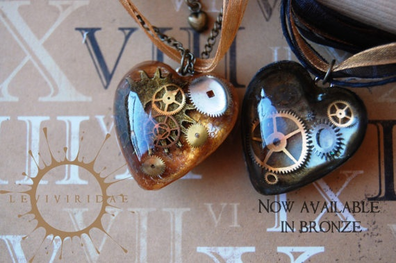 Steam Punk Clockwork Heart Necklace by ocularfracture on Etsy, $17.00