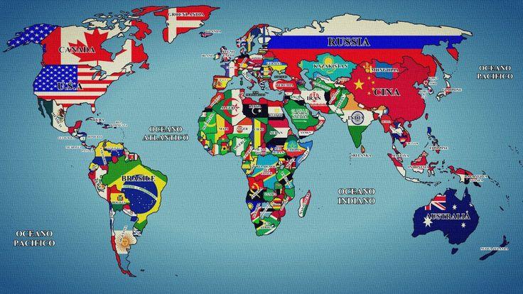 Mappa del mondo con nomi e bandiere fotografie sfondi - Mappa del mondo contorno ks2 ...