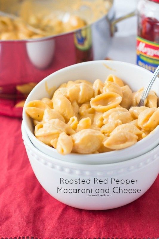 Roasted Red Pepper Macaroni and Cheese. the creamiest I've ever had and you can't even tell there's peppers in the sauce! ohsweetbasil.com