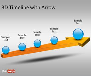 Free 3D Timeline Template for PowerPoint with Arrow is a simple presentation template containing a single slide with a 3D timeline design
