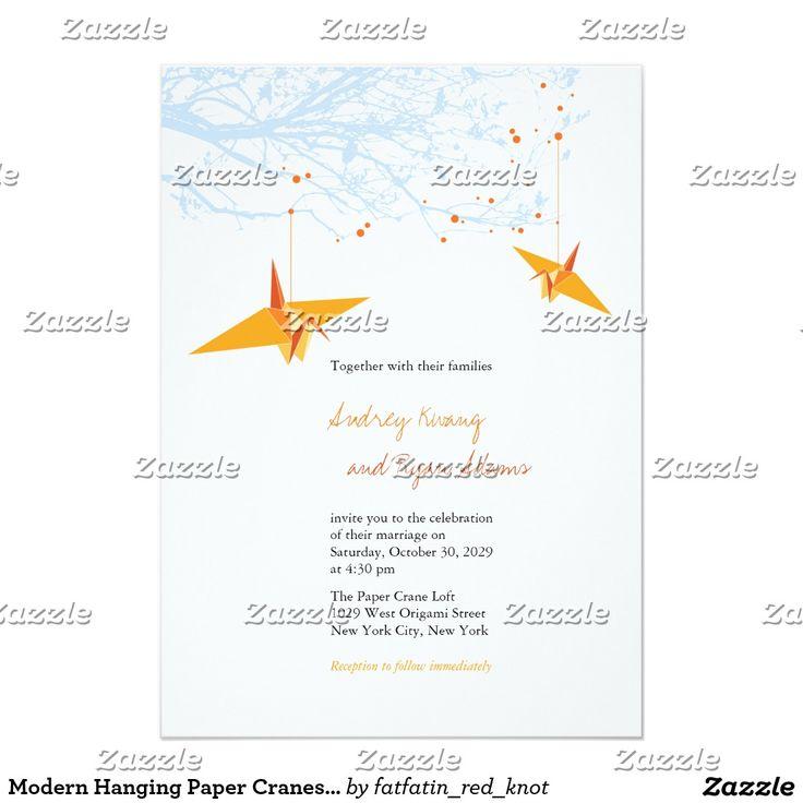 Moderne hängende Papierkran-asiatische Hochzeit 12,7 X 17,8 Cm Einladungskarte