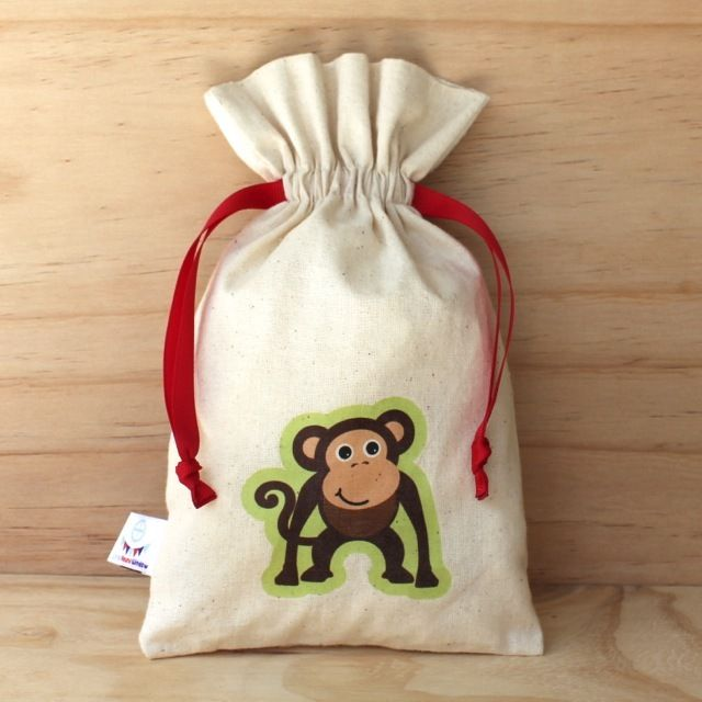 Monkey Calico Drawstring Bag