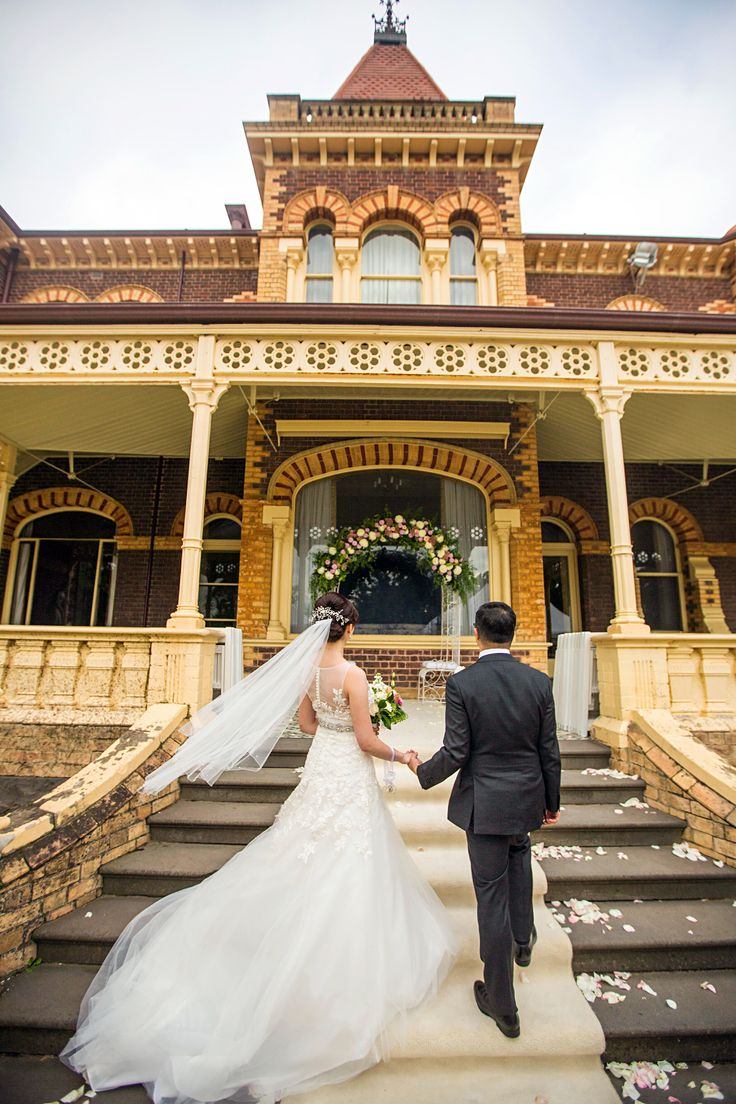 Wedding ceremony on the veranda of Ripponlea Estate.