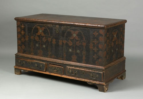 """Berks County, Pennsylvania painted pine dower chest, late 18th c., decorated on the front and sides with potted tulips, architectural columns, and heart corners, over 3 short drawers supported by bracket feet, 29"""" h., 48"""" w."""