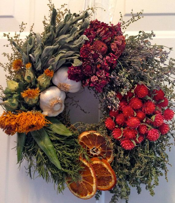 Culinary Wreath,Herb Wreath, Kitchen Wreath, Kitchen Decor, Garlic Wreath, Dried Floral Wreath $40