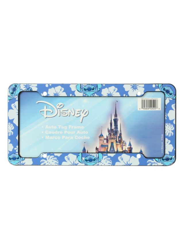 license plate frame with a stitch hawaiian flower design