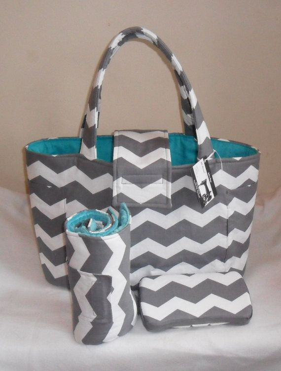 Large Gray Chevron Diaper Bag Set with Changing Mat by JuliesBags, $69.99