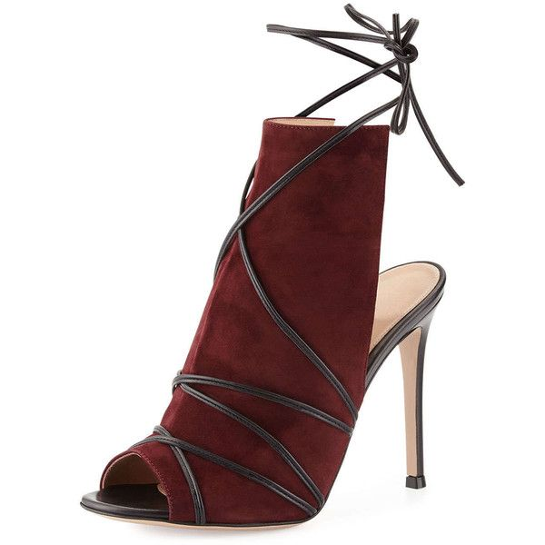 Gianvito Rossi Suede Open-Toe Ankle-Tie Bootie (7.135 DKK) ❤ liked on Polyvore featuring shoes, boots, ankle booties, heels, short black boots, suede booties, high heel boots, black high heel booties and suede ankle boots