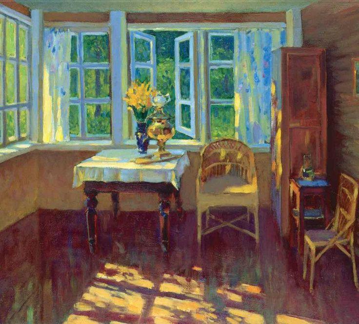 Yuri Konstantinov U201cЛетняя терассаu201dРуза 1996 х/м 45х50. Interior PaintingArt  ...