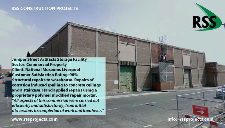 Structural repairs to warehouse. Repairs of corrosion induced spalling to concrete ceilings and a staircase. Hand applied repairs using a proprietary polymer modified repair mortar. http://www.rssprojects.com/Case Studies/juniper-street-artifacts-storage