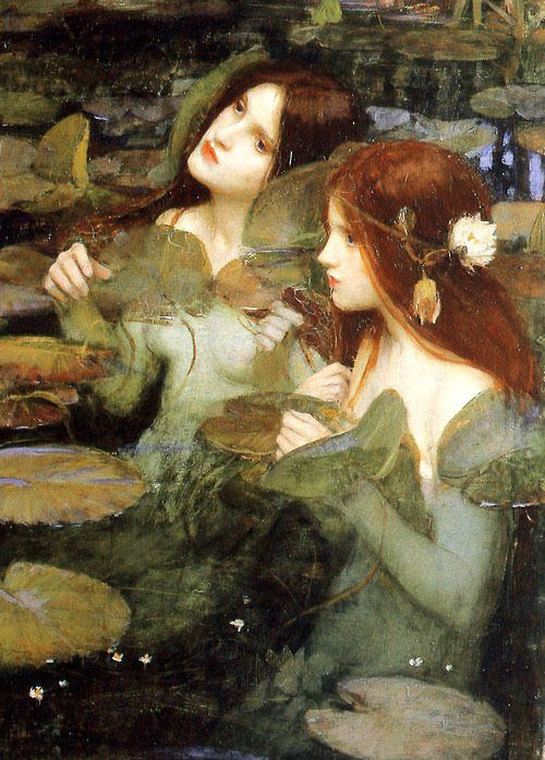 John William Waterhouse, Hylas and the Nymphs (détail). So interested in the treatment of water; descriptive but not naturalistic. Speaks to the pre-raph interest I poetry and allegory, and even to their studio practice ( use of tableaux and staging)