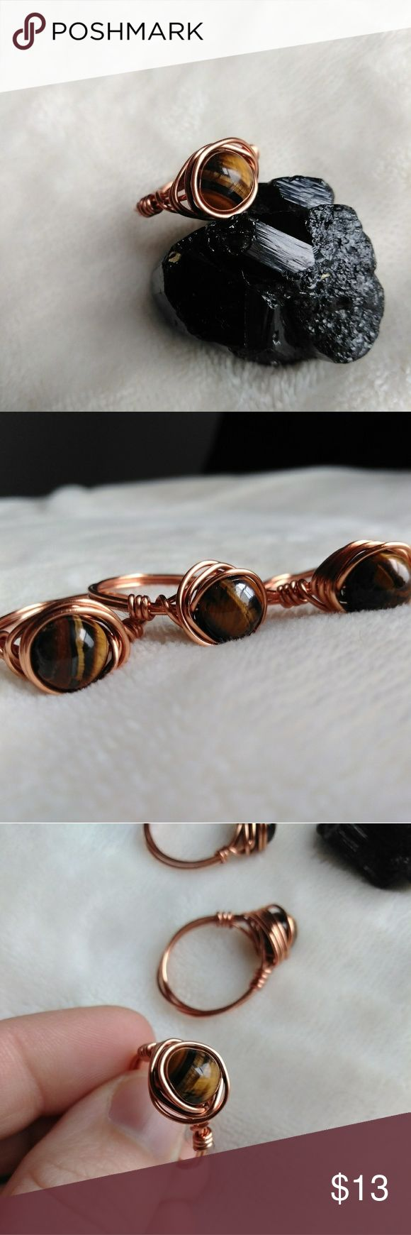 Gemstone Ring - Copper Ring - Boho Style Handmade by Zoey  Genuine Tigers Eye crystal wrapped with copper wire.  Ring size 8  Boho, bohemian, gypsy, tribal, hippie, accessories, crystals, handmade, yoga, chakras, meditation, zen, gemstone,  statement ring, cocktail ring Zoey Zoso Jewelry Rings #wirewrappedringscrystal