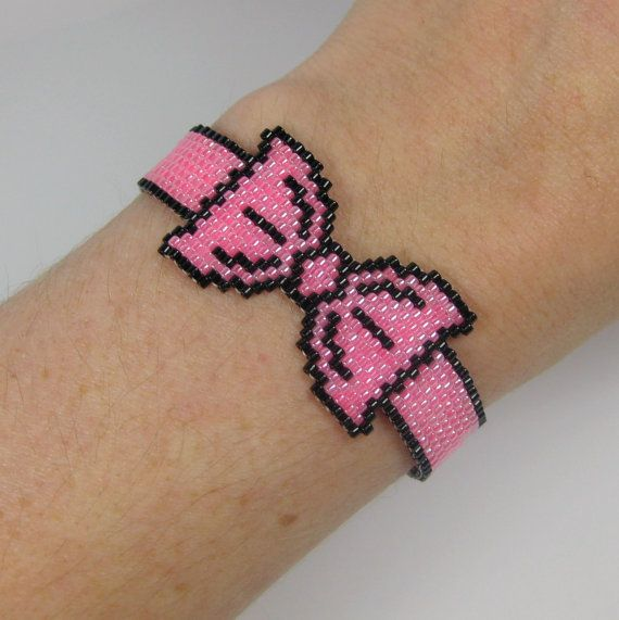 Hot Pink and Black Bead Woven Graphic Bow Bracelet via Etsy