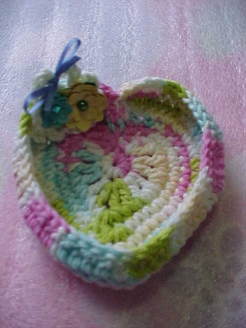 Creative+Things+to+Crochet | Rings and Things Heart Shaped Crochet Dish, handmade