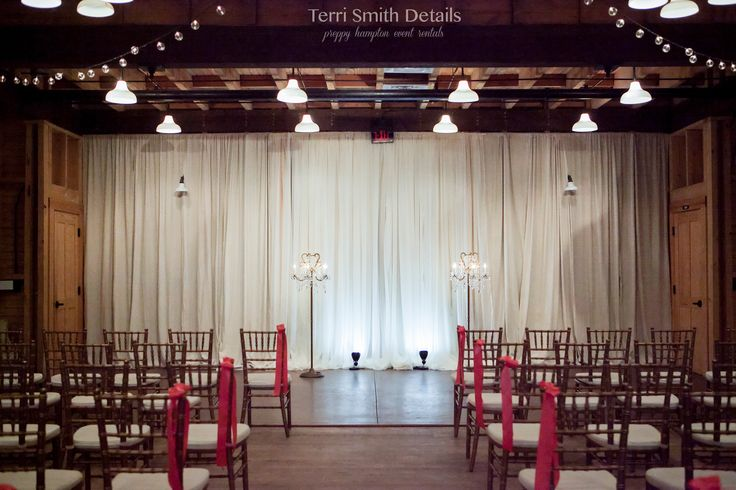 sheer draping, cafe string lights, Dorothy Dandridge & Veronica Lake lamps, wedding rentals, wedding ceremony, event rentals - Terri Smith Details - Wedding Venue: Goodwood - Tallahassee, Florida