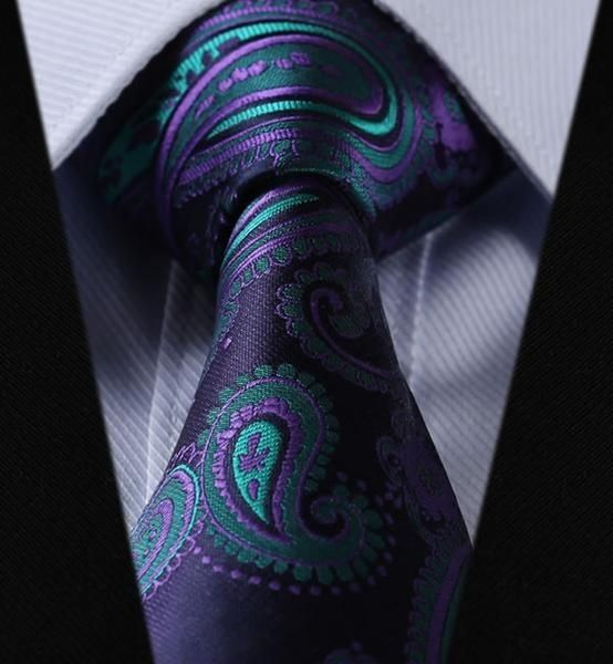 Our dark purple paisley tie with light purple and turquoise will look elegant paired with a light gray suit. The Tie Guys' 100% woven classic paisley tie is a gift any father would love to receive.