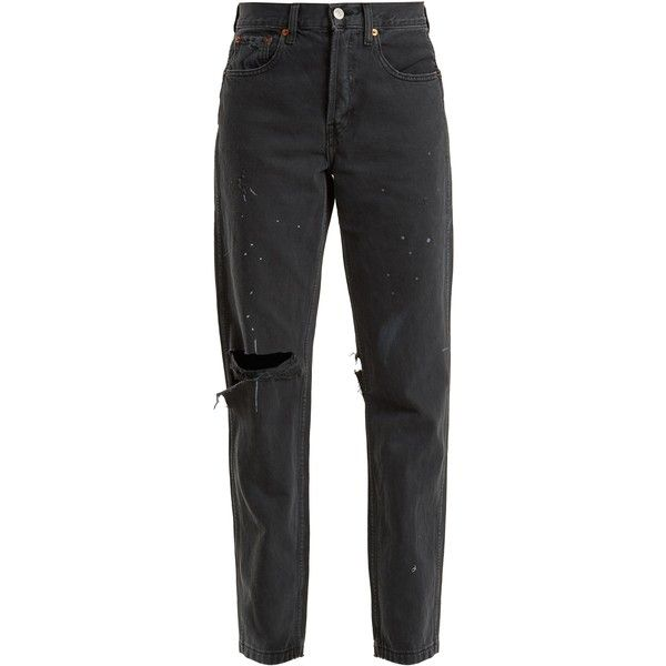 Re/Done Originals Grunge high-rise straight-leg distressed jeans ($340) ❤ liked on Polyvore featuring jeans, pants, bottoms, black, relaxed straight jeans, high rise straight leg jeans, high rise jeans, high-waisted jeans and ripped jeans