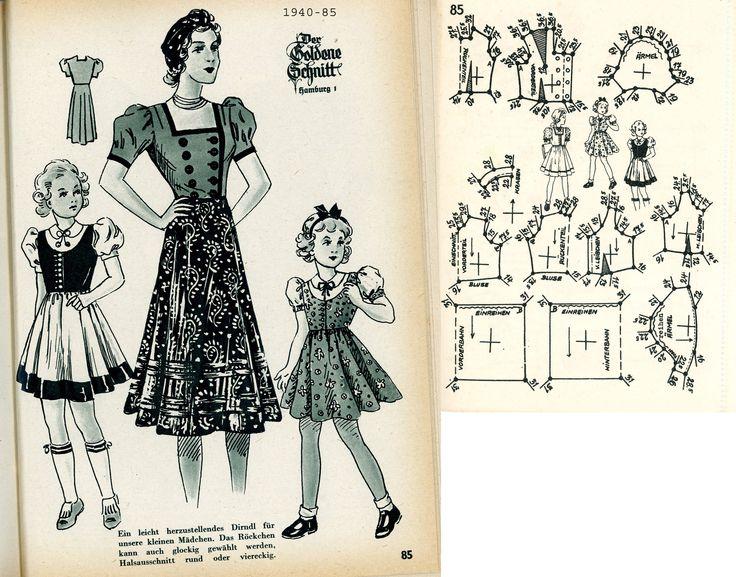 1940s (1940) German Women's and Girl's Dirndl Lutterloh 1940-85