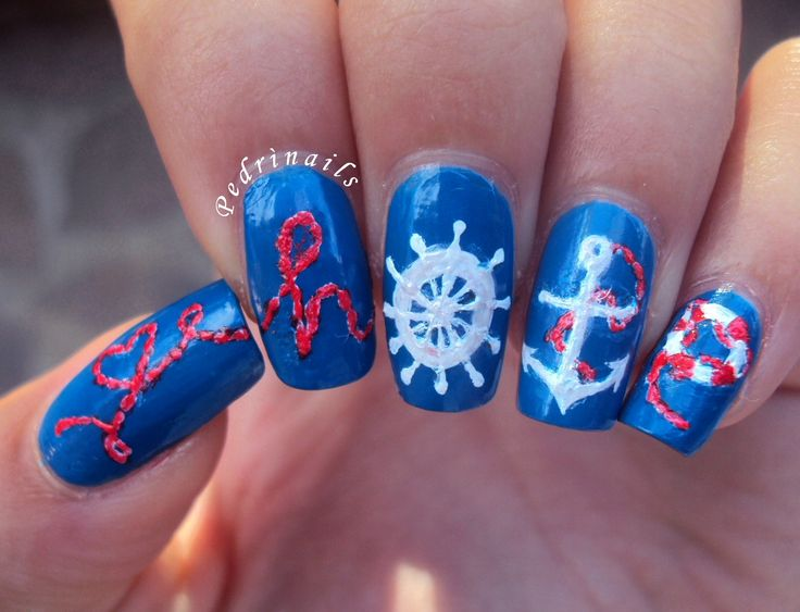 Nautical nails Hope manicure lettering