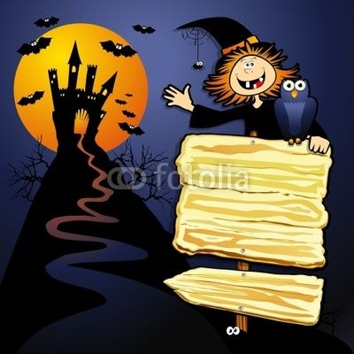 Halloween background with funny witch :)