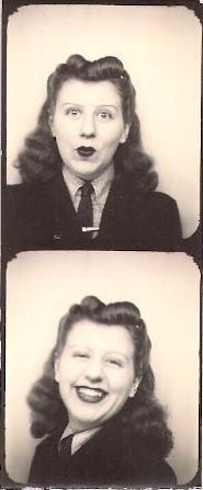 ** Vintage Photo Booth Picture **   Making faces and sporting a great hairstyle, 1941:
