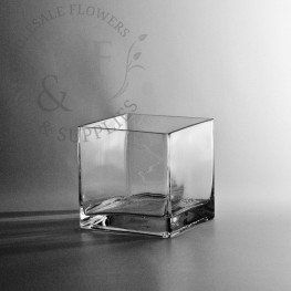 "3"" Square Glass Cube Vase - Wholesale Flowers and Supplies - Wholesale Flowers and Supplies"