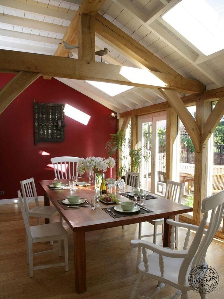 Dining room interior of green oak timber framed extension for Dining room extension ideas