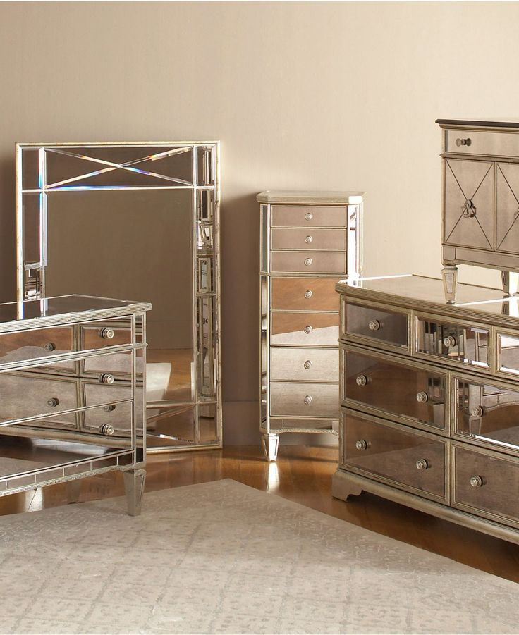 Marais mirrored furniture collection bedroom furniture for Bedroom set with mirror headboard