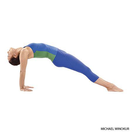 Step-by-step instructions for upward plank pose (Purvottanasana).