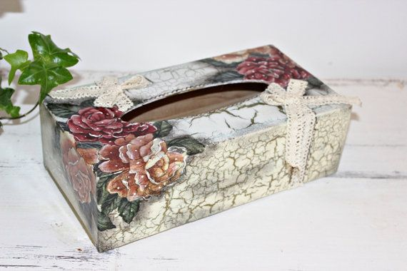 Tissue Box Holder Shabby Chic Kleenex Box by Selenarte