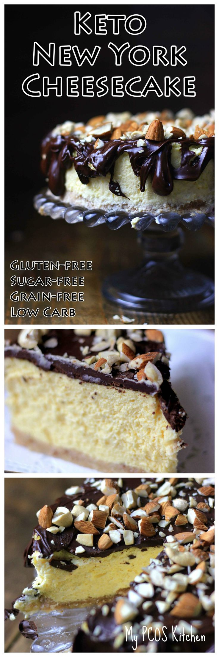 My PCOS Kitchen - Keto New York Cheesecake - This decadent sugar-free and gluten-free cheesecake is the perfect treat for any day of the week! Who doesn't love a Low Carb Cheesecakes!