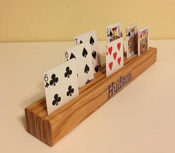 Custom Wood Card Holder Etsy Playing Card Holder Wooden Cards Card Holder Diy