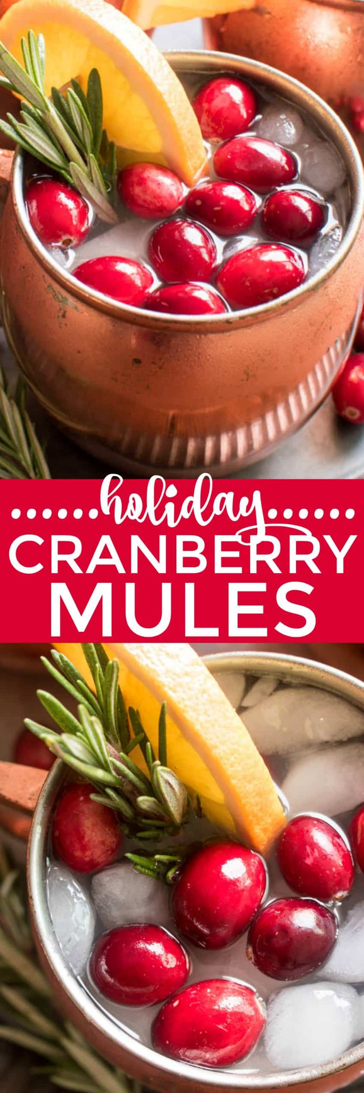 If you love Moscow Mules, these Holiday Cranberry Mules are sure to be a hit! Loaded with the delicious flavors of cranberry, orange, and ginger, and garnished with a sprig of fresh rosemary, these Mules are the perfect cocktails for your holiday season. And they're not only delicious, but beautiful, too! Which makes them an obvious addition to your Thanksgiving, Christmas, and New Years Eve menu. Best of all, these drinks come together quickly with just a handful of simple…