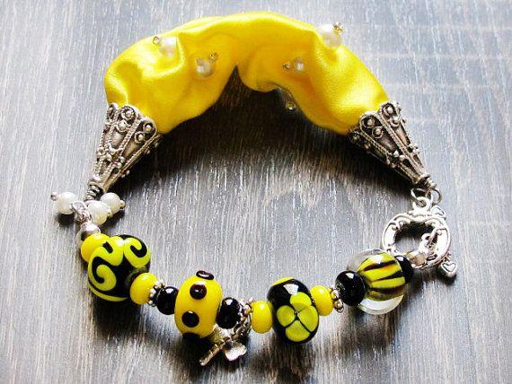 Yellow Black Lampwork Bracelet Glass Bead by GlassHouseLampwork