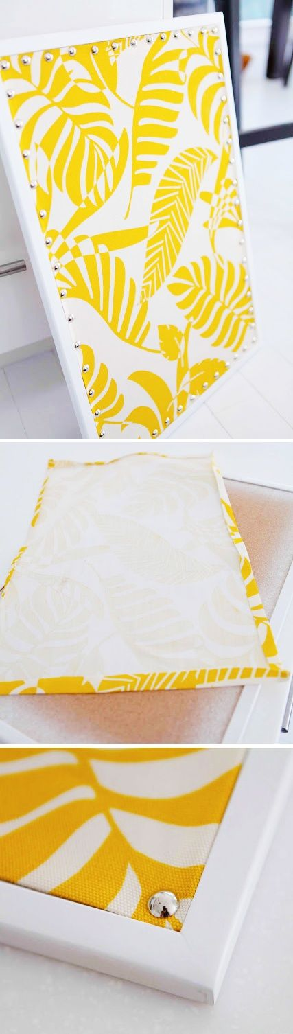 Fabric covered cork board, diy home office, craft room bulletin board