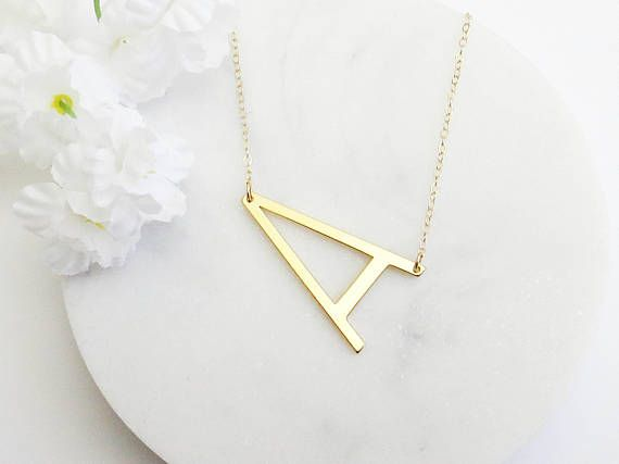 Large Initial Necklace Sideways Initial Necklace Oversized