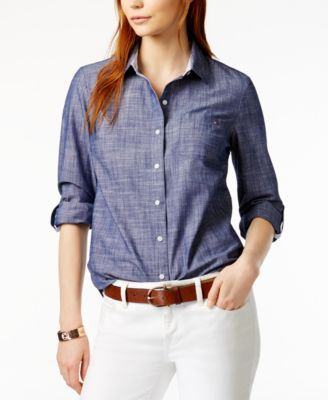 Tommy Hilfiger Cotton Chambray Shirt, Only at Macy's   macys.com