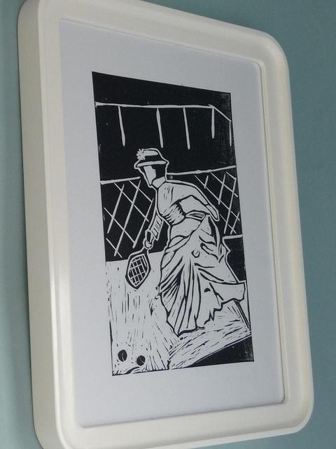 Tennis linocut print by English Girl at Home, via Flickr