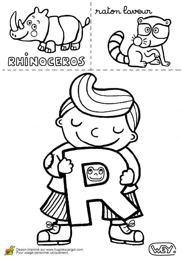 Dessin d'un rhinocéros et d'un raton laveur, à colorier pour aider l'enfant à mémoriser la lettre R