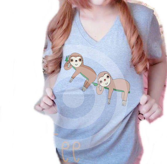 Sloth shirt Women tops S M L XL Grey tshirt Vacation shirt