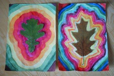 Liście - malowane kontury Leaves - painted outlines